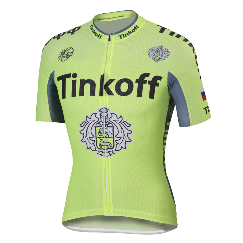 2016 Tinkoff Saxo Bank Fluo Light Green Maglia Ciclismo Manica Corta 66252_AN