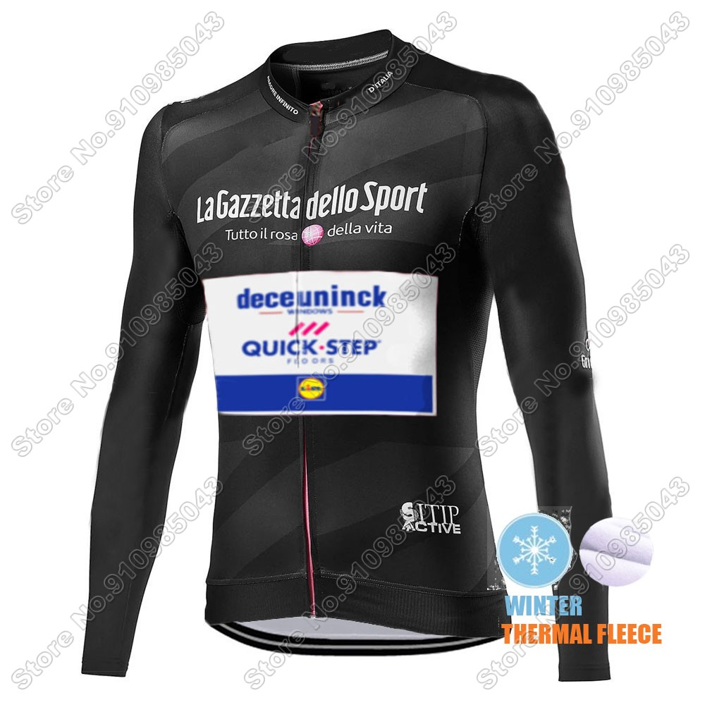 Winter Thermal Fleece Men Giro D'italia Quick Step 2021 Maglia Ciclismo Manica Lunga 5457_ZRI